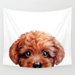 Toy poodle red brown Dog illustration original painting print Wall Tapestry