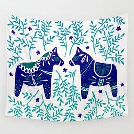 Swedish Dala Horses – Navy & Blue Palette Wall Tapestry