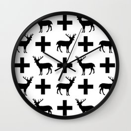 Deer Plus - Black and white deer pattern designs with plus sign perfect cell phone case gift ideas Wall Clock