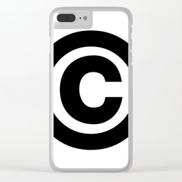 Copyright Sign (Black & White) Clear iPhone Case