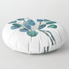 Chinese money plant watercolor Floor Pillow