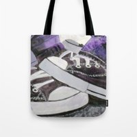 converse Tote Bags featuring Converse by Leslie Creveling