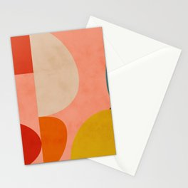 geometry shape mid century organic blush curry teal Stationery Cards