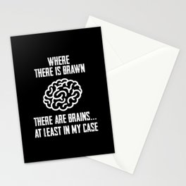 Where There is Brain There Are Brains Fun Math Pun Stationery Cards