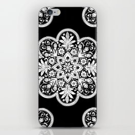 Floral Doily Pattern | Black and White iPhone Skin