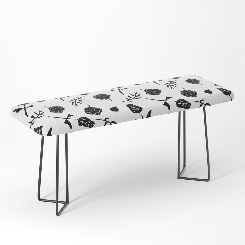 Contemporary_Black_and_White_Floral_Pattern_Bench_by_designsoutofmind
