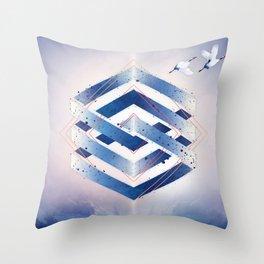 Indigo Hexagon :: Floating Geometry Throw Pillow