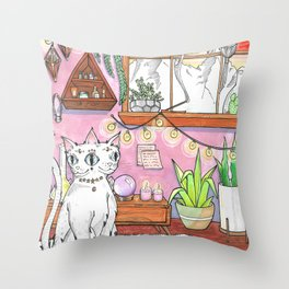 Gemini cat Throw Pillow