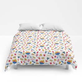 Summer BBQ Pattern - Blue Red Yellow Comforters