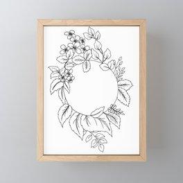 White Floral Circle Framed Mini Art Print