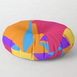 Crzy Modern Triangles - Old Rose, Tahiti Gold, Cornflower Blue Floor Pillow