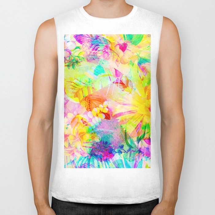 flowers pink yellow Biker Tank