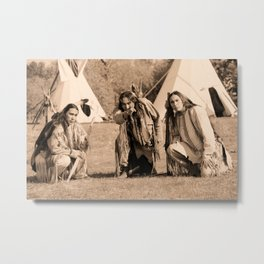 Father and Sons, Cheyenne Warriors Metal Print
