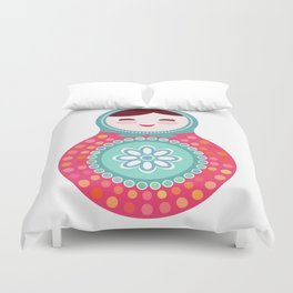 dolls matryoshka, pink and blue colors Duvet Cover