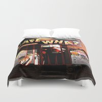 cafe Duvet Covers featuring Cafe Wha by Ellen Turner