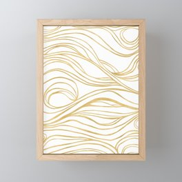Gold Shimmer Swirls - Abstract Waves Framed Mini Art Print