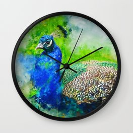 Painted Peacock Wall Clock
