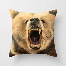 Roaring Bear Throw Pillow