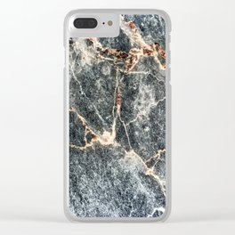 Gray Slate Marble Pattern With Pastel Copper Veins Clear iPhone Case