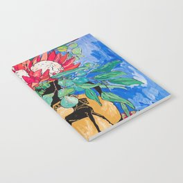 Tropical Protea Bouquet with Toucans in Greek Horse Urn on Ultramarine Blue Notebook