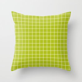 Acid Green - Green Color - White Lines Grid Pattern Throw Pillow