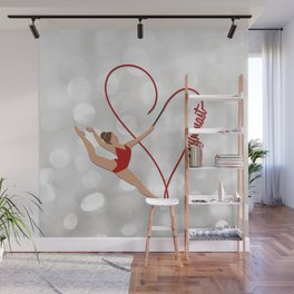 Red Heart Gymnast Text Wall Mural