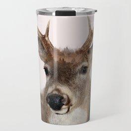 Whitetail Deer Double Exposure Travel Mug
