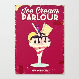 ice cream parlour new york city vintage sign. Canvas Print