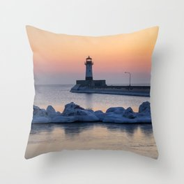 Sunrise at North Pier Lighthouse Throw Pillow
