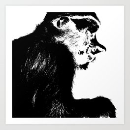 Juvenile proboscis monkey Art Print