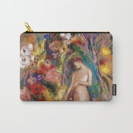 Female figure into red poppy, calla lilies, hibiscus, and flowers portrait painting by Odilon Redon Carry-All Pouch