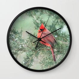 Christmas Bird (Northern Cardinal) Wall Clock