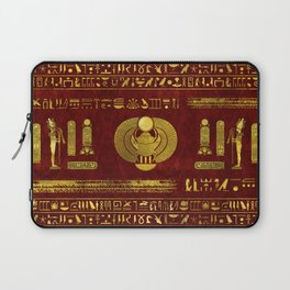 Golden Egyptian Scarab on red leather Laptop Sleeve