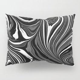 Black White Grey Marble Pillow Sham