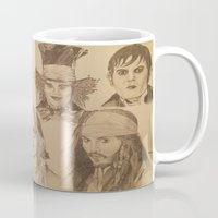 johnny depp Mugs featuring Johnny Depp by Virginieferreux