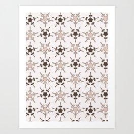 5 Point Star Rustic Texture Winter White Geometric Art Print