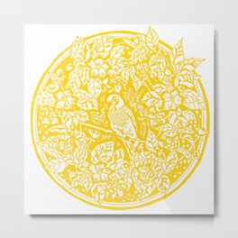 Gen Z Yellow Parakeet Lino Cut Metal Print