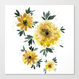 Sunflower Sparkle - white Canvas Print