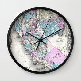 Map of California and San Francisco 1855 Wall Clock