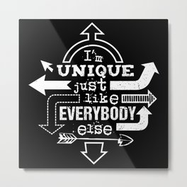 Unique Me - white die cut Metal Print