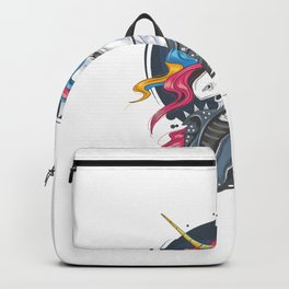 Unicorn Punk Jacket Rider With Full Colour Rainbow Hair Gold Horn Backpack