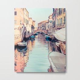 Boats rest in a Venice Canal Fine Art Print Metal Print