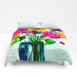 big colorful bouquet Comforters