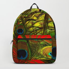 RED-GREEN PEACOCK FEATHERS ART Backpack