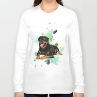 rottweiler Long Sleeve T-shirts featuring Rottweiler happy by Cami Landia