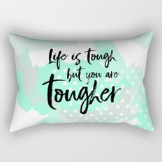 Life is tough but you are tougher - mint abstract typography Rectangular Pillow