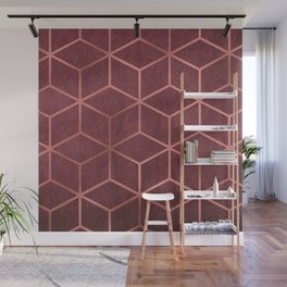 Pink and Rose Gold - Geometric Textured Gradient Cube Design Wall Mural