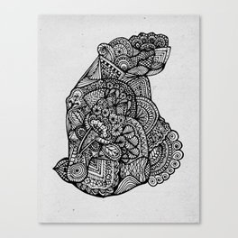 Sitting Hippo Doodle Canvas Print