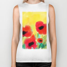 Red poppies - original design by ArtStudio29 - red flowers on yellow background Biker Tank