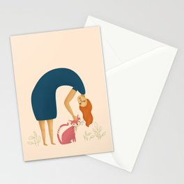Red hair laidy petting a cat | Illustration Stationery Cards